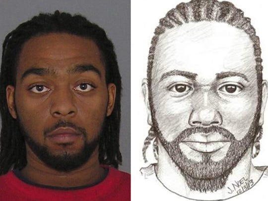 A side-by-side of Jaleel Markeith Smith-Riley's mugshot and the police sketch created from Aron Martin's description in 2013.