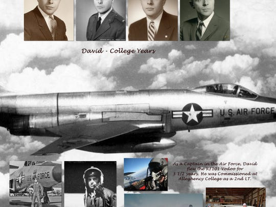 This is a page of the photo book made for David Hockenbrocht's family that shows his service in the U.S. Air Force.