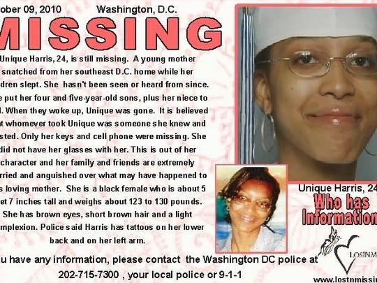 Unique Harris missing poster