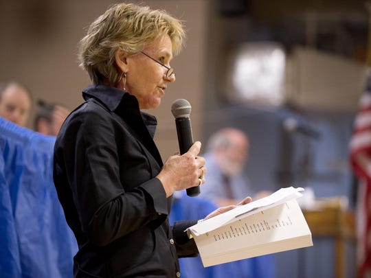 Mary Mead, Charlotte's town clerk and treasurer, speaks at a recent town meeting.