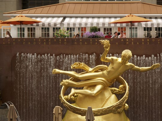 Golden Prometheus statue at Rockefeller Center in Manhattan.