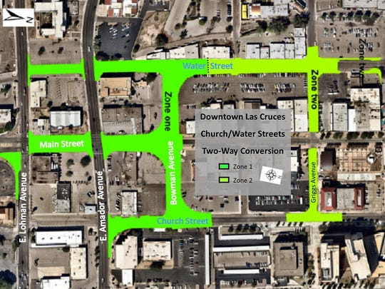 The city of Las Cruces has split into four phases a project to convert Church Street and Water Street into two-way routes. Zone 1, on the south side of the downtown area, is the first phase. Zone 2 is north of that.