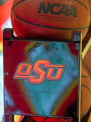 A general view of the Oklahoma State Cowboys ball rack.