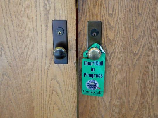 Courtroom doors at the Caddo Parish Juvenile Court.