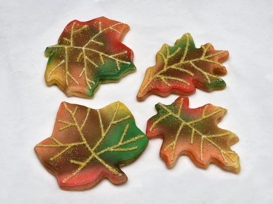 Leaf cookies from Tot's Treats of Reno. The cottage business is selling holiday cookie sets.