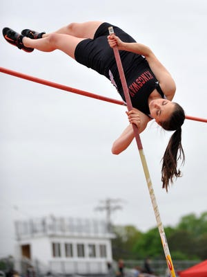 Kingsway's Erin Gray clears a pole vault attempt at the Gloucester County track and field championships, Wednesday, May 11, 2016 in Franklinville.