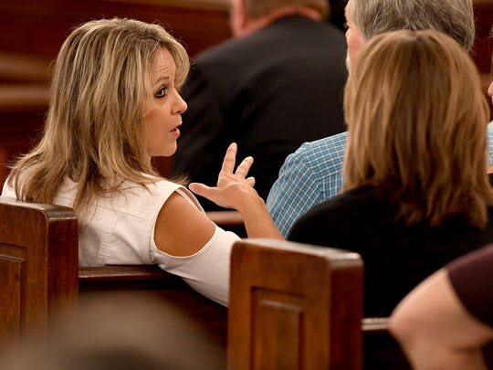 Karen Bobo, mother of Holly Bobo, turns to talk to family supporters during day five of the Holly Bobo murder trial, Friday, September 15, in Savannah, Tenn. Zach Adams is charged with felony first-degree murder, especially aggravated kidnapping, aggravated rape of Holly Bobo.