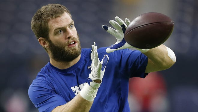 Indianapolis Colts tight end Jack Doyle (84) before the start of their game against the Houston Texans at NRG Stadium in Houston on Oct. 16, 2016.