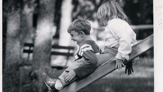 David Reichert, 7, and his sister Susan, 8, team up