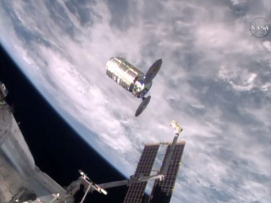 """Orbital ATK's unmanned """"S.S. Deke Slayton II"""" cargo ship departed the International Space Station at 7:26 a.m. Friday."""