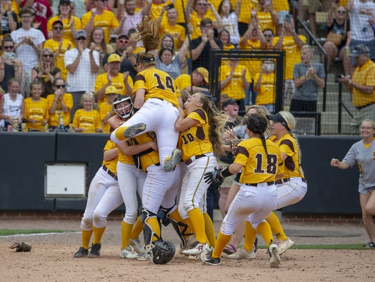 Speedway High School celebrates their victory after