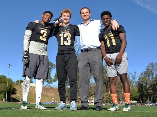 Keyshawn Johnson Jr. (3), Tristan Gebbia (13) and Darnay