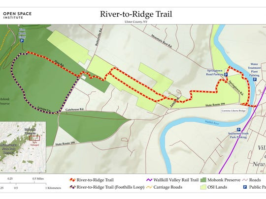 "This map shows the proposed route of the ""River-to-Ridge"""