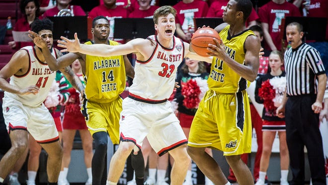 Ball State's Ryan Weber defends against Alabama State during their game at Worthen Arena Dec. 22, 2016.