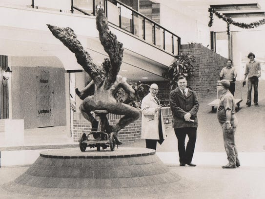 From 1974: Up Down, a bronze sculpture by Mark Jacobsen,