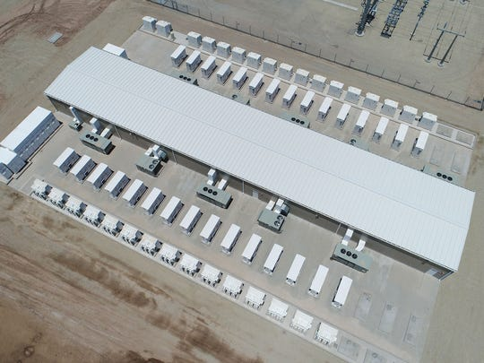 The Imperial Irrigation District's 30-megawatt battery storage system in El Centro, California, seen from a drone.