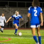 Cedar Crest's Tori Roberts gets tripped up trying to get by Conestoga Valley's Maggie Wang as Cedar Crest fell to Conestoga Valley 5-2 in the first round of the District 3 Class 4A playoffs on Tuesday, Oct. 25, 2016.