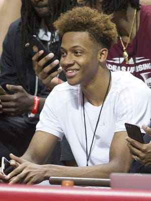 Romeo Langford, an Indiana recruit, attended the annual Hoosier Hysteria on Saturday at Assembly Hall in Bloomington.