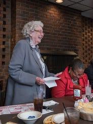 Rotarian Wilma Healy introduces Wayne County Prosecutor