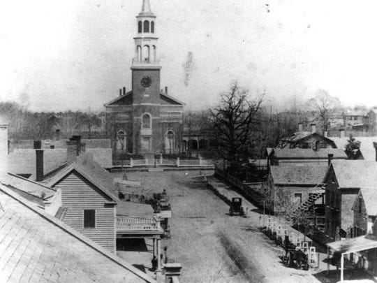 This photo taken from Church Street in the mid-19th century, shows how Burlington has evolved.