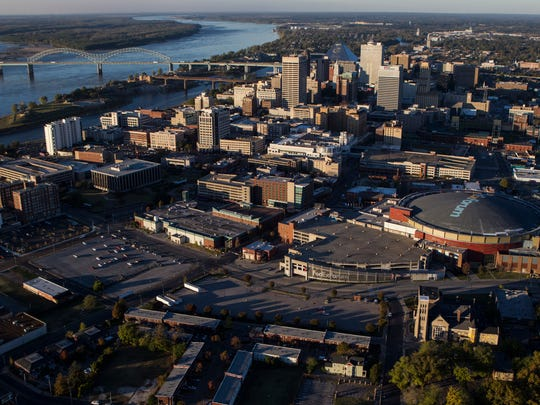 Downtown Memphis, photographed from a helicopter.