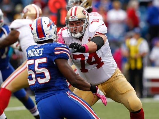 San Francisco 49ers tackle Joe Staley (74) blocks Buffalo