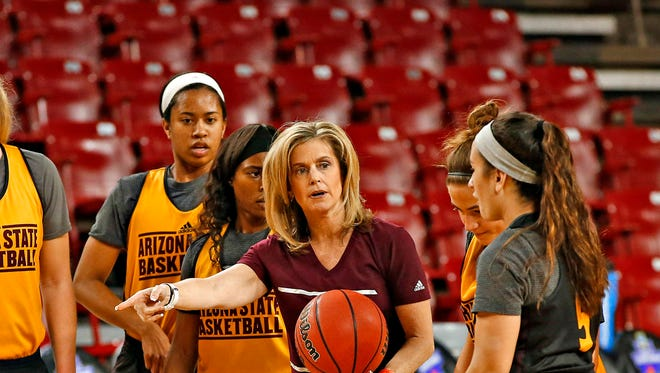 ASU head coach Charli Turner Thorne directs her team during practice for the Sun Devil's NCAA first round game against New Mexico State at Wells Fargo Arena in Tempe on March 17, 2016.