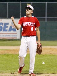 Waverly's Bradey Roney celebrates a strikeout against