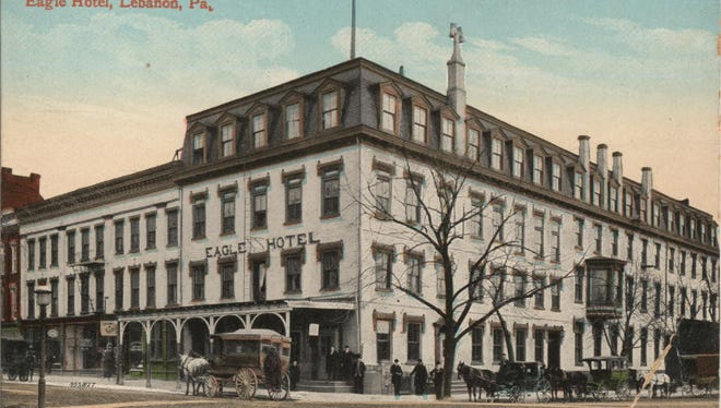 This postcard shows the Eagle Hotel on the southeast corner of Ninth and Cumberland streets in Lebanon. Note the horse-drawn conveyances in the street and the five chimneys and lack of fire escapes.