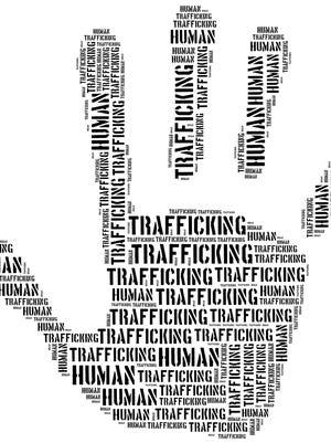 Human trafficking illustration.