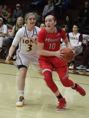 Marist College's Maura Fitzpatrick drives past Iona's Kristin Maloney at the Hynes Athletic Center in New Rochelle on Jan. 15.