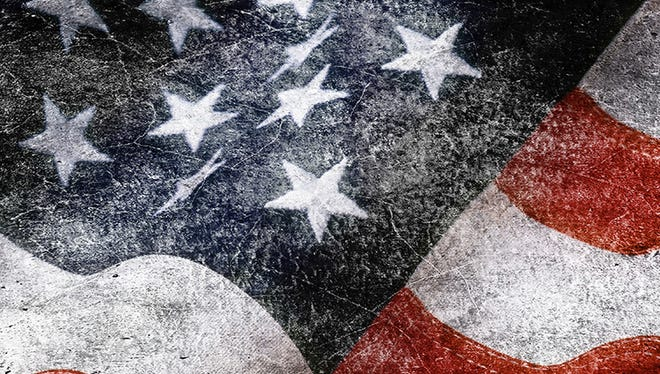 USA, American flag painted on textile. Background in grunge style obtained by double exposure technique.
