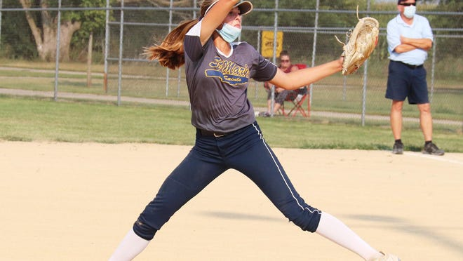 St. Mary's ace Elena Krause, shown here earlier this season, tossed a no-hitter for the Saints Thursday.