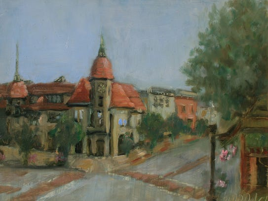 Downtown Ridgewood, 8 x 10 oil painting