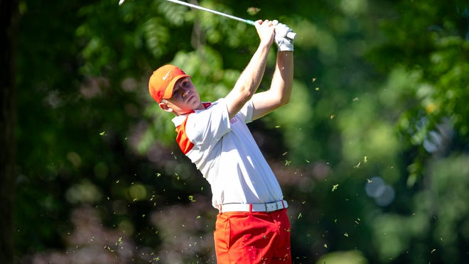 Brady Kaufmann tees off on the No. 8 hole as he competes against Chase Laack in the championship flight of the Boys 16-17 Division on the final day of the 2020 Kone Elevator Drysdale Golf Tournament at Bunn Golf Course, Thursday, July 16, 2020, in Springfield, Ill.