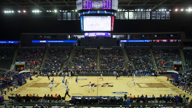 Average announced attendance at University of Evansville men's basketball games last season dipped below 4,000 for the first time in the program's Division I history, which dates back to 1977.