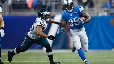 Eagles linebacker Mychal Kendricks can't quite catch Detroit's Joique Bell in the Eagles' 45-14 loss on Thursday.
