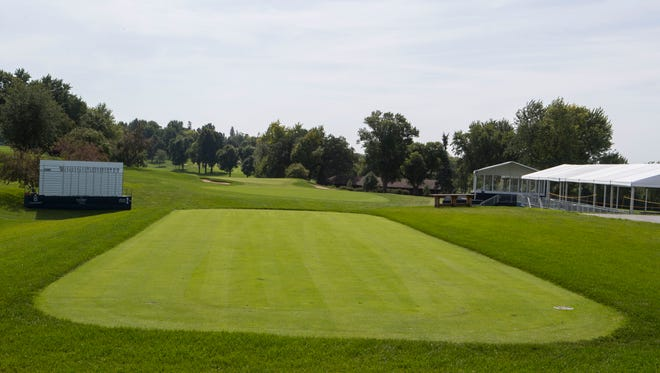 Minnehaha Country Club gets ready for the PGA Champions Tour event in Sioux Falls, S.D. on Tuesday, Sept. 11, 2018.
