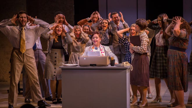 """The cast of """"9 to 5"""" at Playhouse on the Square through Sept. 3."""