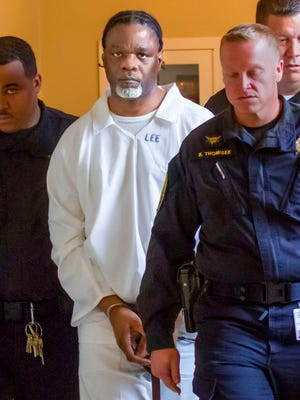 Ledell Lee appears in Pulaski County Circuit Court Tuesday, April 18, 2017, for a hearing in which lawyers argued to stop his execution which is scheduled for Thursday. Unless a court steps in,  Lee and Stacey Johnson are set for execution Thursday night. Lee was sentenced to death after being convicted of killing Debra Reese with a tire iron in February 1993 in Jacksonville.