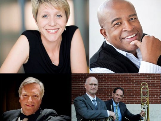 Clockwise from lower left: Pianist Mark Puckett, vocalists Lynette Chambers and Sam Cook and Abilene Philharmonic principal hornist Jeff Powers and trombonist Brent Phillips are the guest artists for next orchestra concert April 21.