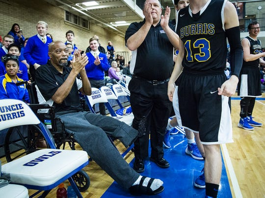 Mike White watches Burris' game against Blue River