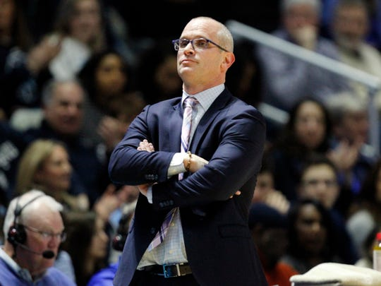 Rhode Island head coach Dan Hurley during first half of an NCAA college basketball game against Duquesne, Saturday, Jan 27, 2018, in Kingston, R.I. (AP Photo/Stew Milne)