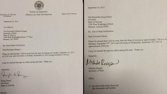 Gov. Doug Ducey files a notice with the Secretary of State's office when he leaves Arizona. His notice on the left. Secretary of State Michele Reagan filed the notice on the right of her absence from the state.