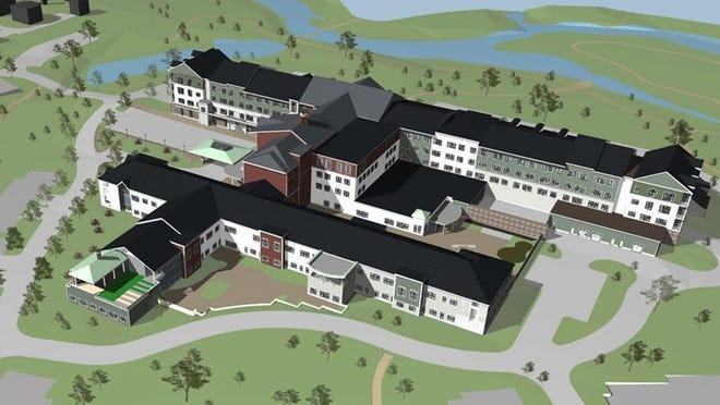 A rendering of the new Willows Premier Retirement Community for Active Adults and the Whitney Place Assisted Living and Memory Care at Medway. The structure of the facilities were completed on Wednesday.