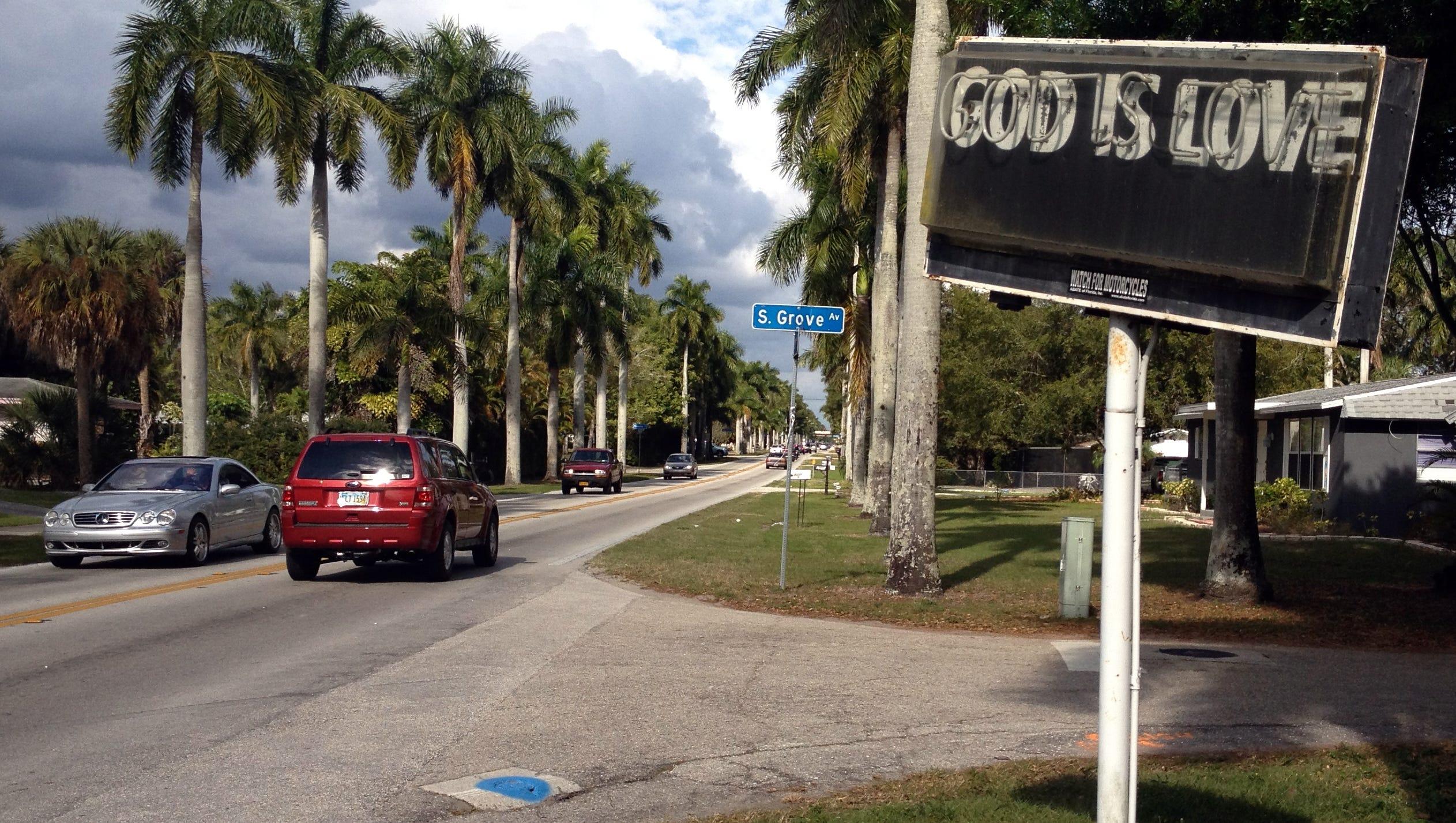 God Is Love sign on McGregor Boulevard in Fort Myers.