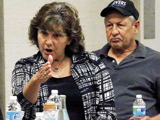 Rudy Gutierrez—El Paso Times Clint resident Rebecca Martinez says a planned natural gas pipeline may cut through her family's land near the U.S./Mexico border during a meeting of landowners with State Rep. Mary Gonzalez Saturday in Clint.