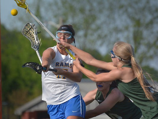 Kennard-Dale's Lyndsey Duty shoots and scores the Rams' fourth goal on Thursday against York Catholic. Duty had three goals and three assists in K-D's 16-12 win.