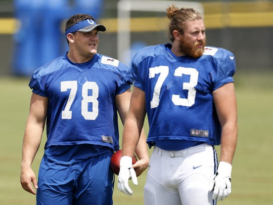 The Colts are hoping the likes of Ryan Kelly (left) and Joe Haeg help a leaky offensive line.