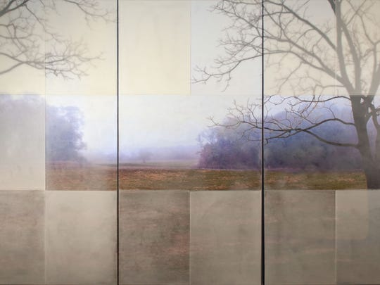 "Tom Brydelsky, ""Enter,"" triptych, encaustic and collage"